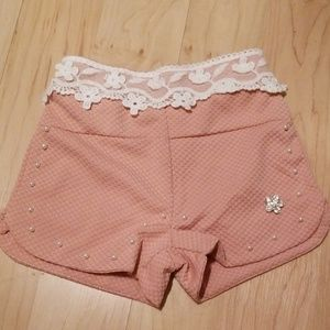 New pink and navy embellished shorts
